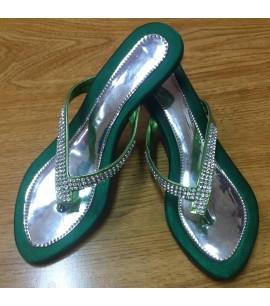 Green Slide Heel Shoes