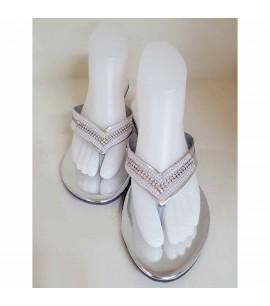 Silver Slipper Heel Shoes