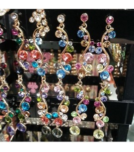 Long Earrings with mult-coloured stones