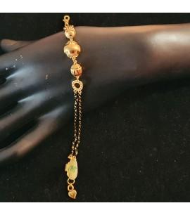 GJBR027-22ct Gold double row crystal bead bracelet