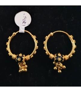 GJEB030-22ct Gold Bali with Black enamel bead