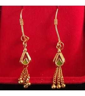 GJED003-22ct Dangly Charm Earrings-hoop type