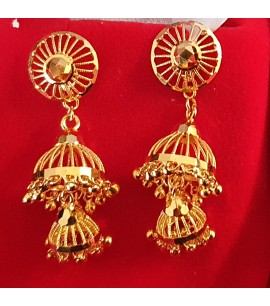 GJED019-22ct Gold Dangly Earrings with Jhumki