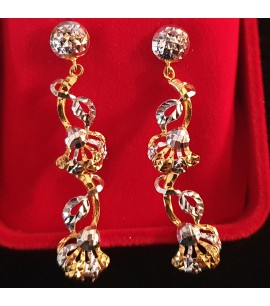GJED023-Long Earrings with Rhodium works