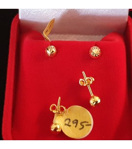 GJES022-22ct Gold Dome studs