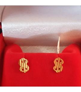 GJES023-22ct Gold Earrings studs in dollar design