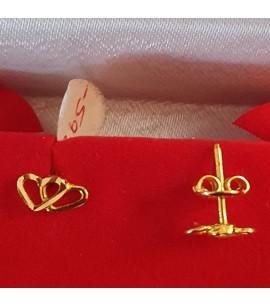 GJES028-22ct Gold Double hearts design studs