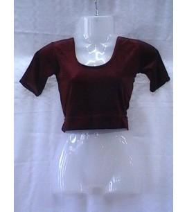 Plain stretch-velvet Blouse