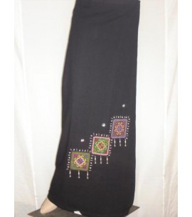Detailed Black Wrap Skirt