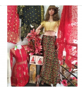 IWS017-Black Brocade skirt with colourful designs