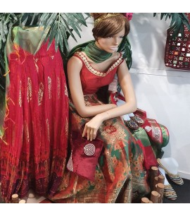 IWS018- Brocade skirt with Ethnic designs