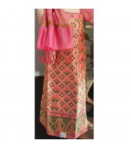 IWS021-Brocaded Skirt in Peach