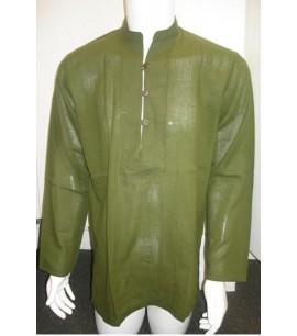 Cotton Shirt with Mandarin collar