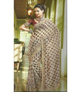 Beige Embroided Saree