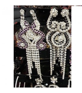 Arabic style long Earrings with crystals