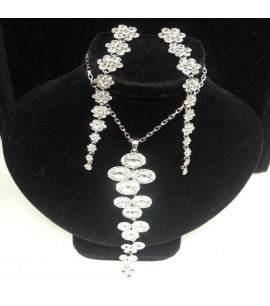 Crystally Necklace Set with long Earrings