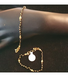 GJBR028-22ct Gold crystal bead bracelet for Children