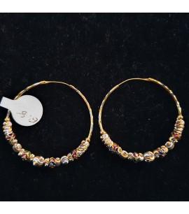 GJEB028- 22ct Gold Bali Earrings with Enamel works