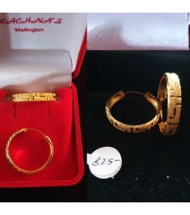 GJEB033-22ct Gold Broad Bali Earrings