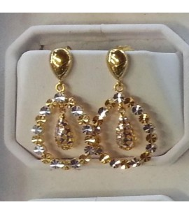 Tear-drop Earrings with rodium