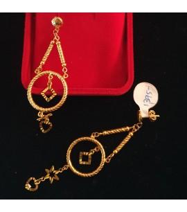 GJED024-Long Earrings in plain 22ct Gold