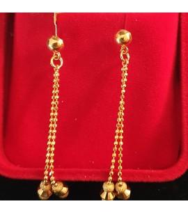 GJED025-22ct Gold long ball chain Earrings