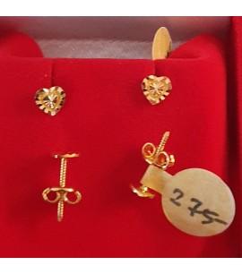 GJES024-22ct Gold heart design studs