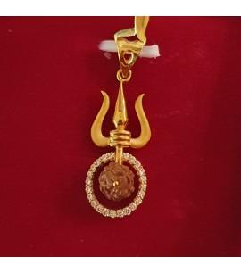GJP032-22ct Gold Trishul Pendant