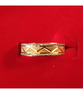 GJR034-22ct Gold tri-colour wedding Band