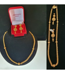 GJS021-22ct Gold Necklace and Earrings