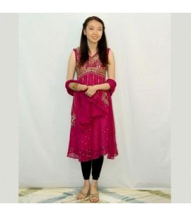 Sequinned Hot Pink Dress