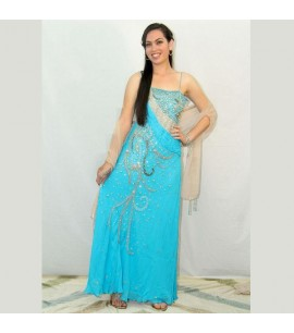 Sequinned Pale Blue Maxi Dress
