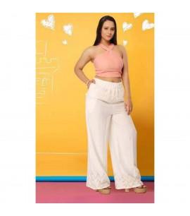 Beige Cotton Pallazo Pants - IWP030