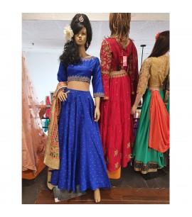 IWS022-Brocade skirt in Royal Blue