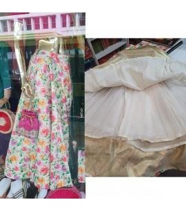 IWS023-Floral printed Silk Skirt