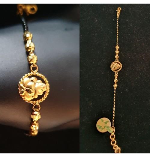 GJBR022-22ct Gold Ganeshji Bracelet